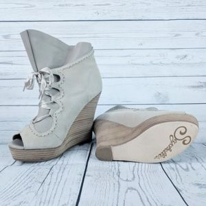 Seychelles Suede & Leather Lace Up Wedges 7.5